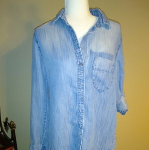 Cloth & Stone Distressed Denim Shirt